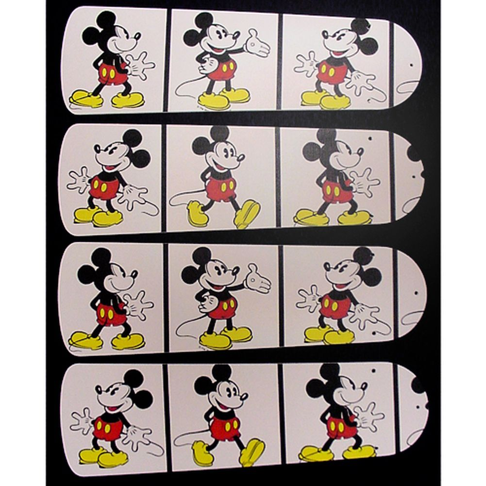 White Mickey Mouse Custom Designer 42in Ceiling Fan Blades Set