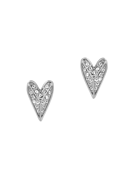Pyramid Hearts Crystal Stud Earrings