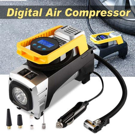 Air Compressor Pump, Tsumbay Double Cylinder Portable Car Air Tire Inflator Pump with Auto Shut Off Gauge 12V 150 PSI Pump for Car, Truck, Bicycle, Sport Ball and Other (Best Tire Inflator With Gauge)