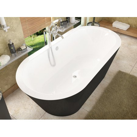 Tre 32 in. by 70 in. Freestanding One Piece Soaker Tub, Center Drain