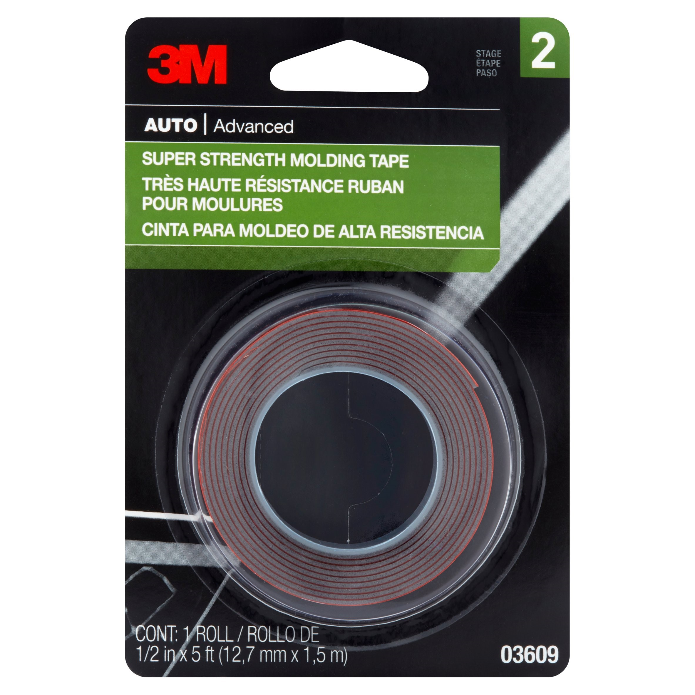 3M 03609NA Molding Tape, 1/2-In. x 5-Ft.
