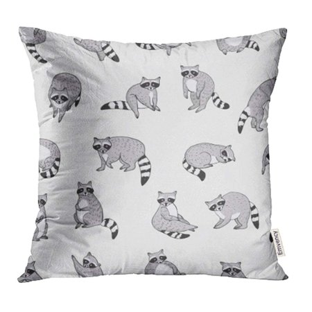 Raccoon Cartoon Animal - USART Raccoon Cartoon Character Poses Action Run Cute Flat Head Animal Drawing Pillowcase Cushion Cover 16x16 inch