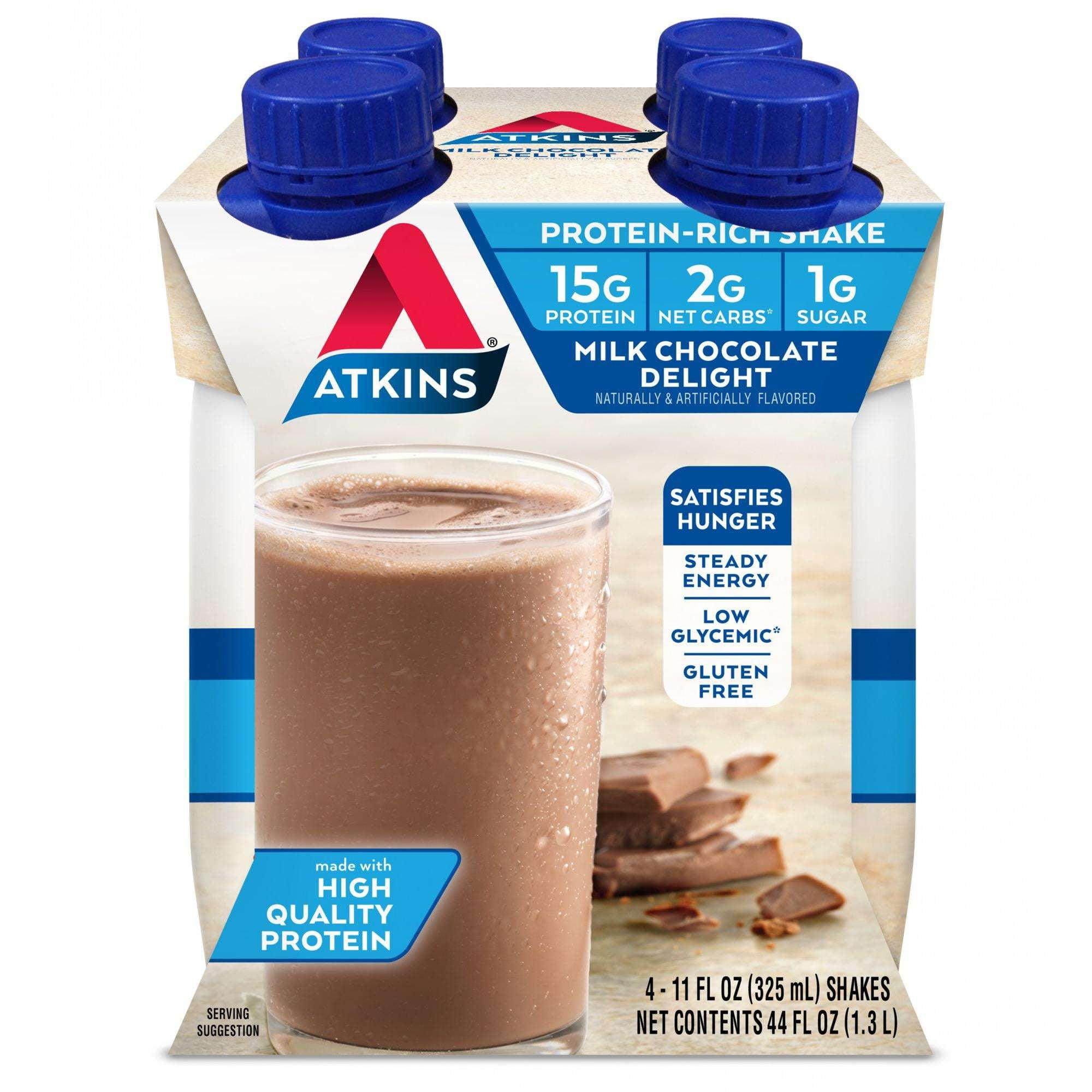Atkins Milk Chocolate Delight Shake, 11 fl oz, 4-pack (Ready To Drink)