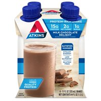 Atkins Gluten Free Protein-Rich Shake, Milk Chocolate Delight, Keto Friendly, 4 Count (Ready to Drink)