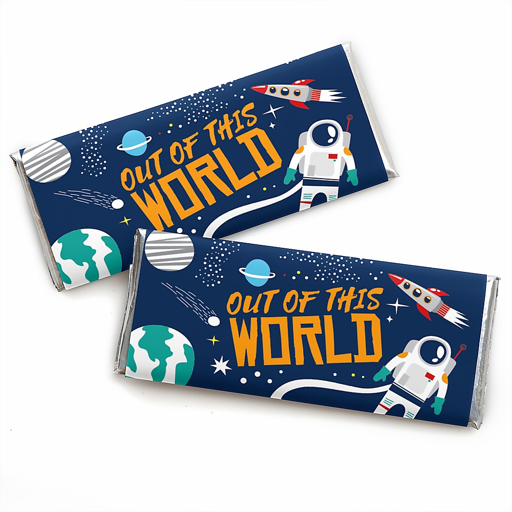 Set of 15 Blast Off to Outer Space DIY Party Supplies Rocket Ship Baby Shower or Birthday Party DIY Wrapper Favors and Decorations