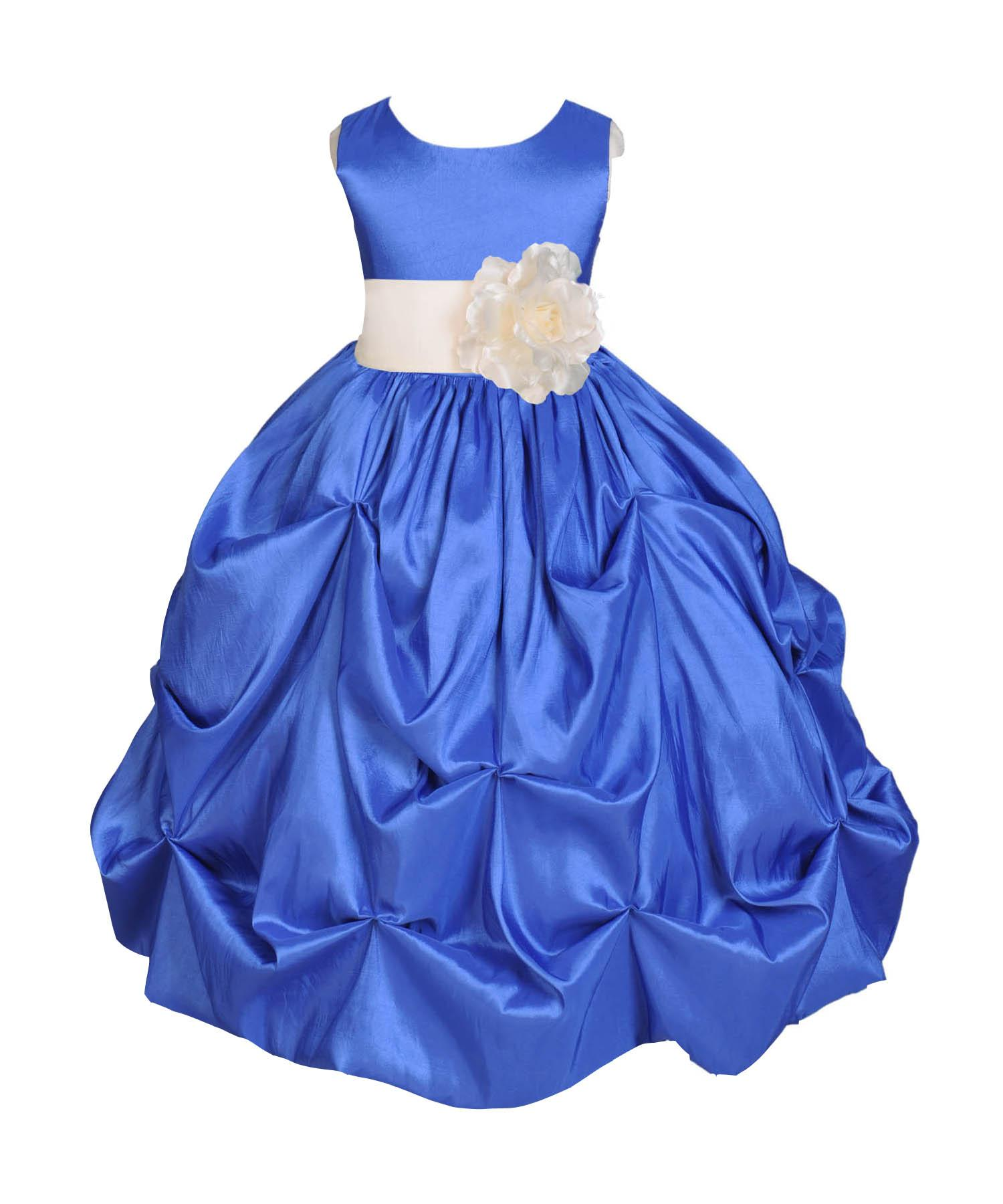 Ekidsbridal Taffeta Bubble Pick-up Royal Blue Flower Girl Dress Weddings Summer Easter Dress Special Occasions Pageant Toddler Birthday Party Holiday Bridal Baptism Junior Bridesmaid Communion 301S