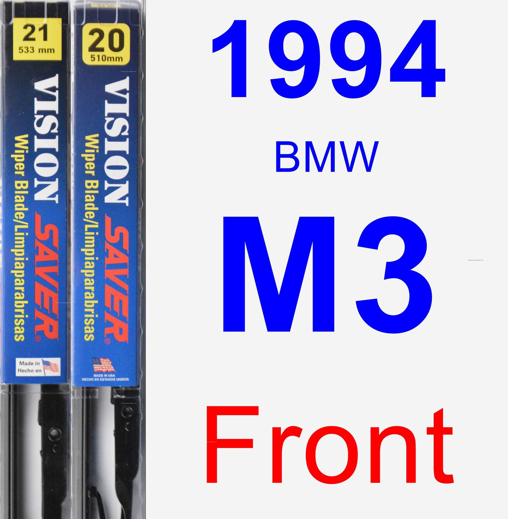 1994 BMW M3 Wiper Blade Set/Kit (Front) (2 Blades) - Vision Saver