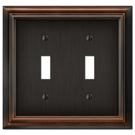 Cast Bronze Wall Register - Elumina Continental Cast, Satin Aged Bronze Wallplate, Double Toggle