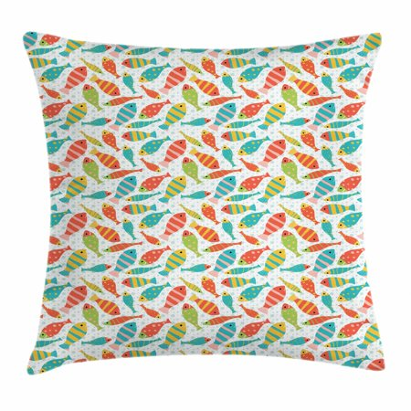 Fish Throw Pillow Cushion Cover, Childish Pattern with Colorful Smiling Fish Figures and Sea Bubbles at Background, Decorative Square Accent Pillow Case, 18 X 18 Inches, Multicolor, by Ambesonne