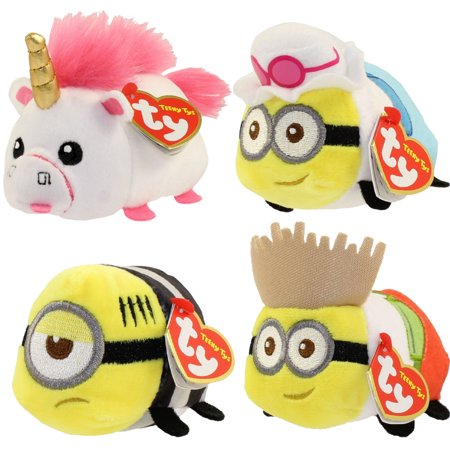 TY Beanie Boos - Teeny Tys Stackable Plush - Despicable Me 3 - SET OF 4 (Fluffy, Jerry, Mel & Dave)