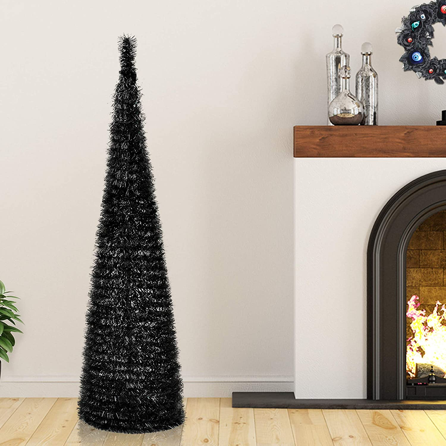 YuQi 5 Black and Orange Tinsel Pop-Up Artificial Christmas Tree,Collapsible Pencil Christmas Trees Features Sequins Accents for Apartments,Dorm Rooms,Fireplace or Party