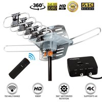 Infrared Remote Control 360 Degree Motorized Outdoor TV Antenna 150 Mile Long Range Reception UHF VHF FM