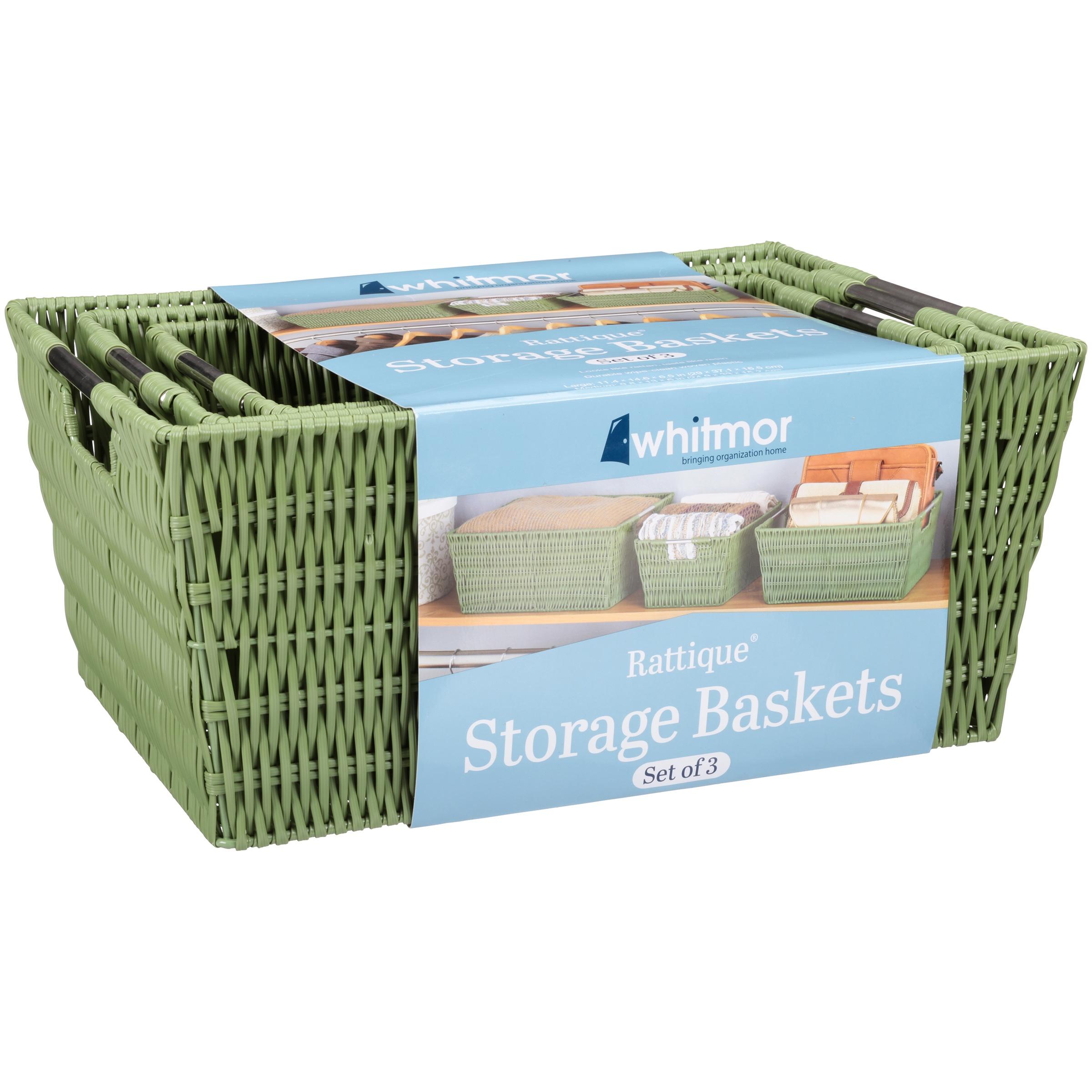 sc 1 st  Walmart & Whitmor Rattique Storage Baskets Set of 3 Multiple Colors - Walmart.com