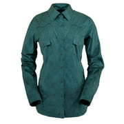 Outback Trading Shirt Womens L/S Tracie Faux Leather Peacock 42138