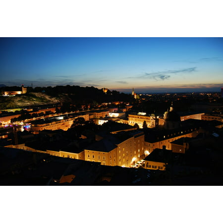 Framed Art for Your Wall Salzburg Austria Lights Evening Night Mood Town 10x13 Frame