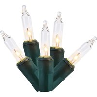 Holiday Time Mini Lights, Clear, Green Wire, 100 Count