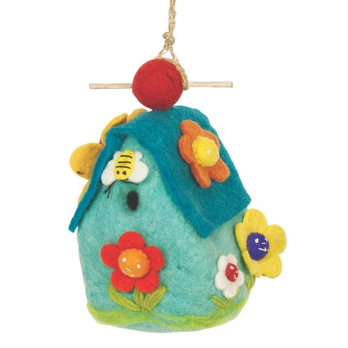 Global Crafts Flower Felt 9 in x 5 in x 4 in Birdhouse