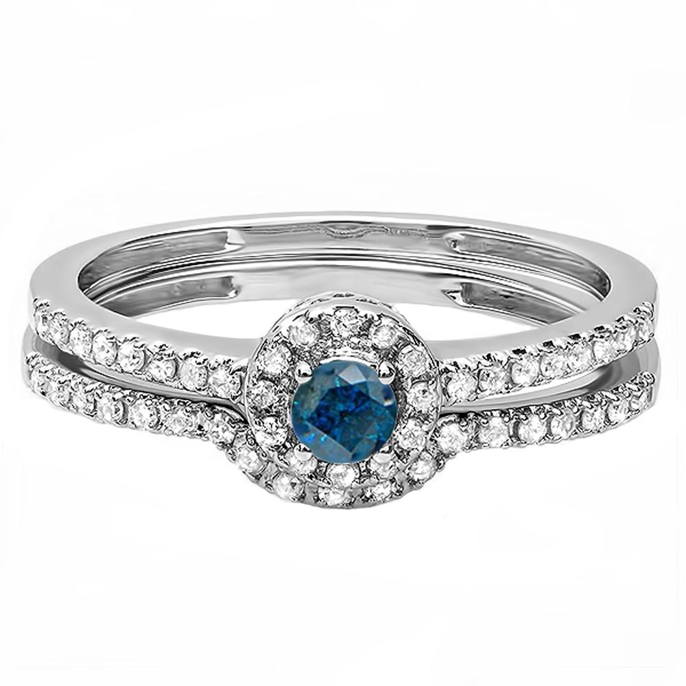 Dazzlingrock Collection 0 45 Carat Ctw 10k White Gold Round Blue