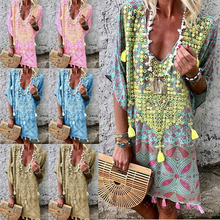 Urkutoba Plus Size Women's Cotton Summer Short Sleeve Long T-Shirt Ladies Casual Dress