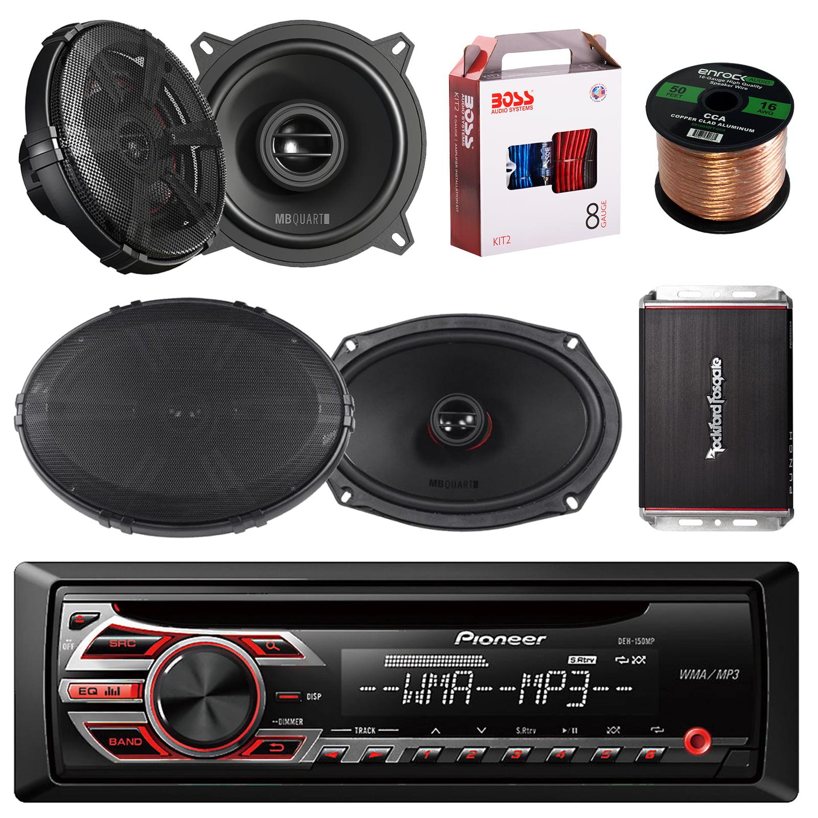 Pioneer DEH-150MP Single DIN Car Stereo Bundle - 2 Car Speakers 5.25 ...