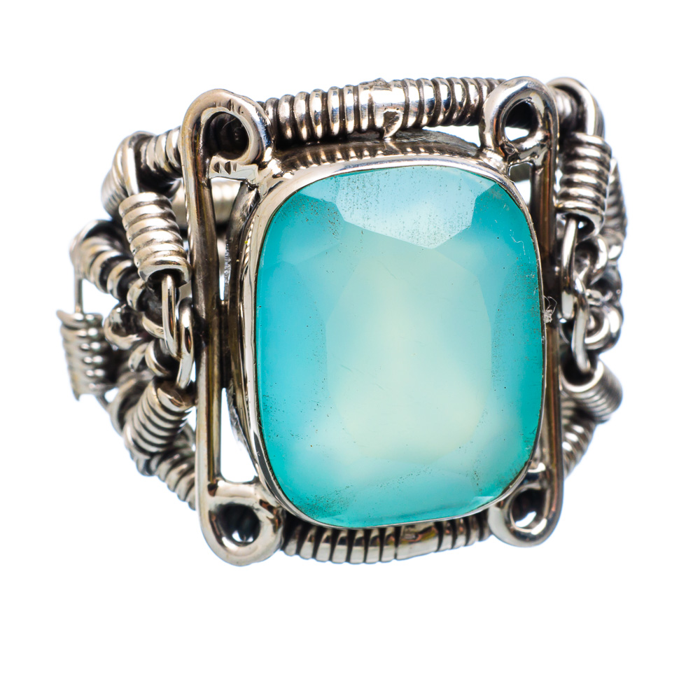 Ana Silver Co Large Aqua Chalcedony 925 Sterling Silver Ring Size 6.5 Handmade Jewelry RING854156 by Ana Silver Co.