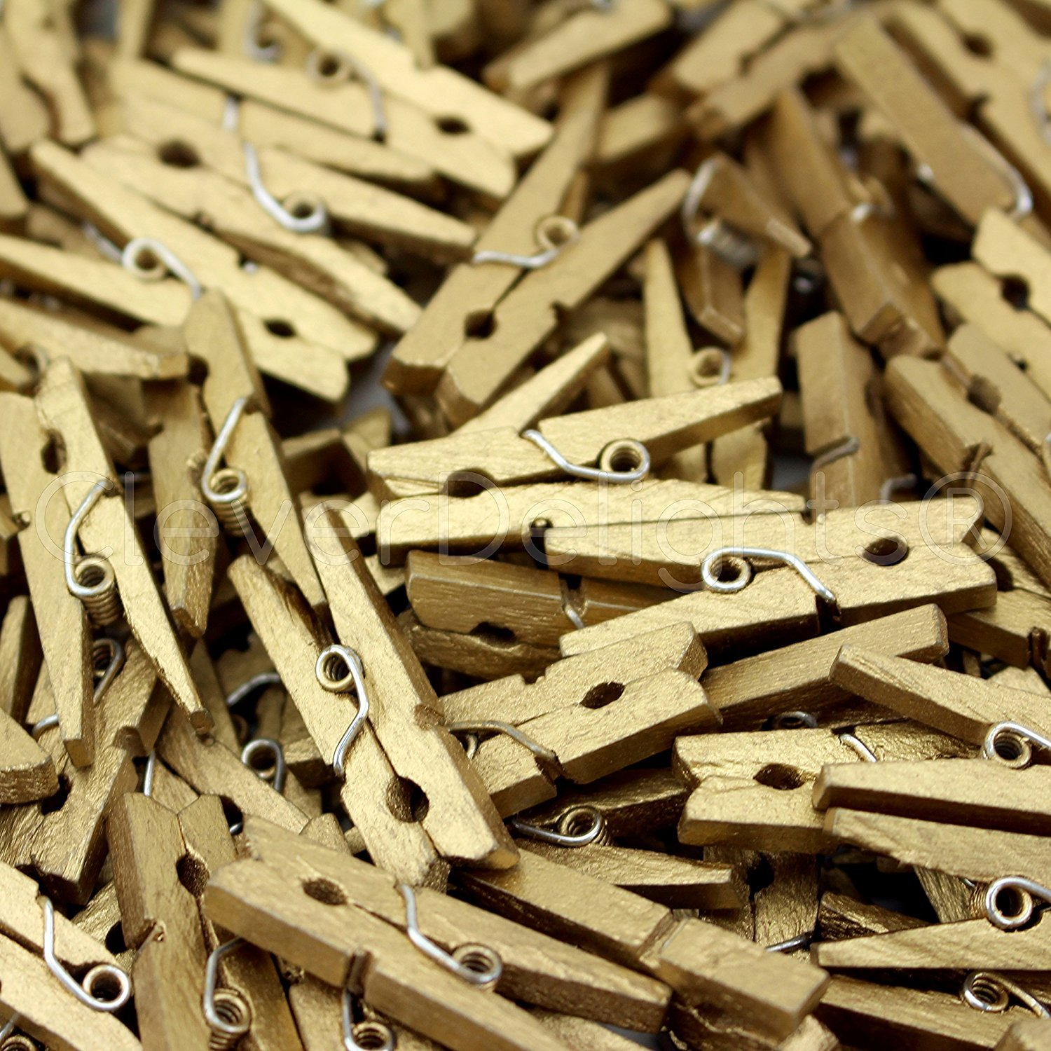 """500 Pack - CleverDelights 1 1/8"""" Mini Clothespins - Metallic Gold"""