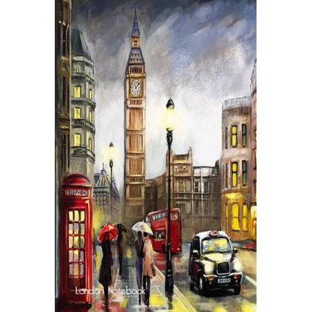 London Notebook: London Souvenir Medium Note Pad with Big Ben, London Black Taxi & Red Phone Box, 100 Lined Pages (Paperback)