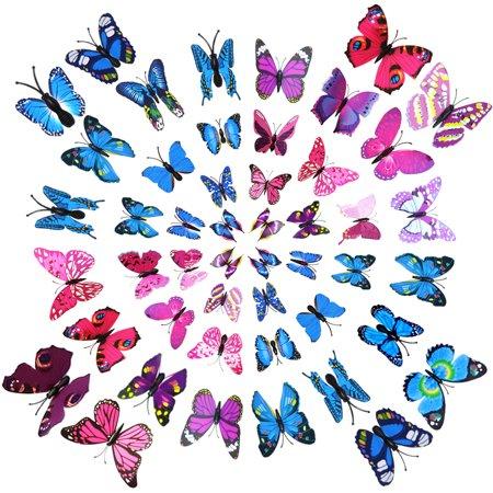 wall stickers Fridge Magnets, Outgeek 48Pcs 3D Butterfly Refrigerator Magnets Wall Stickers for bathroom  Men Women Girls Boys Home Art - Butterfly For Girls