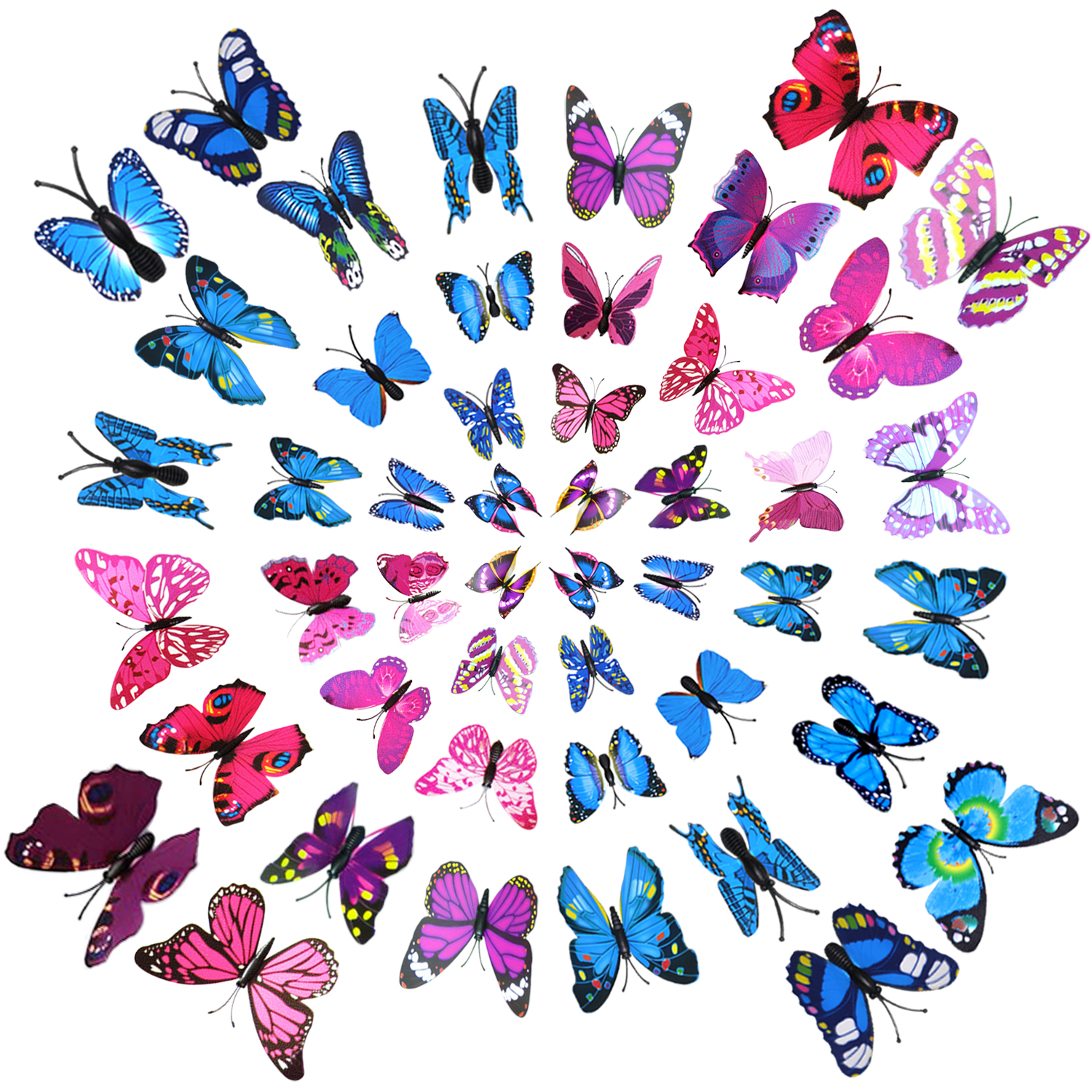 wall stickers Fridge Magnets, Outgeek 48Pcs 3D Butterfly Refrigerator Magnets Wall Stickers for bathroom  Men Women Girls Boys Home Art Decor