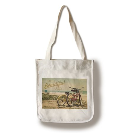 Corpus Christi, Texas - Life is a Beautiful Ride - Beach Cruisers - Lantern Press Photography (100% Cotton Tote Bag - (Corpus Christi Horseback Riding On The Beach)