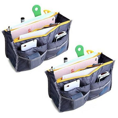 2 Pack Magik Travel Insert Handbag Purse Large Liner Organizer Tidy Bags Expandable 13 Pocket Handbag Insert Purse Organizer with Handles (Grey)