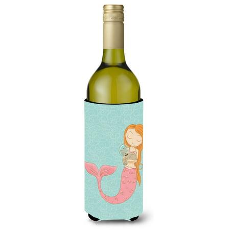 Mermaid with Cat Wine Bottle Beverge Insulator Hugger (Mermaid Cat)