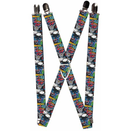 Batman DC Comics Superhero Strip Collage Suspenders - Batman Suspenders