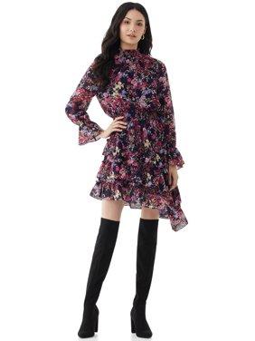 Scoop Womens Floral Print Dress with Asymmetric Ruffled Hem