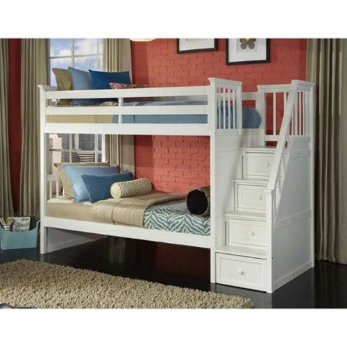 NE Kids School House Twin over Twin Stair Bunk Bed in White