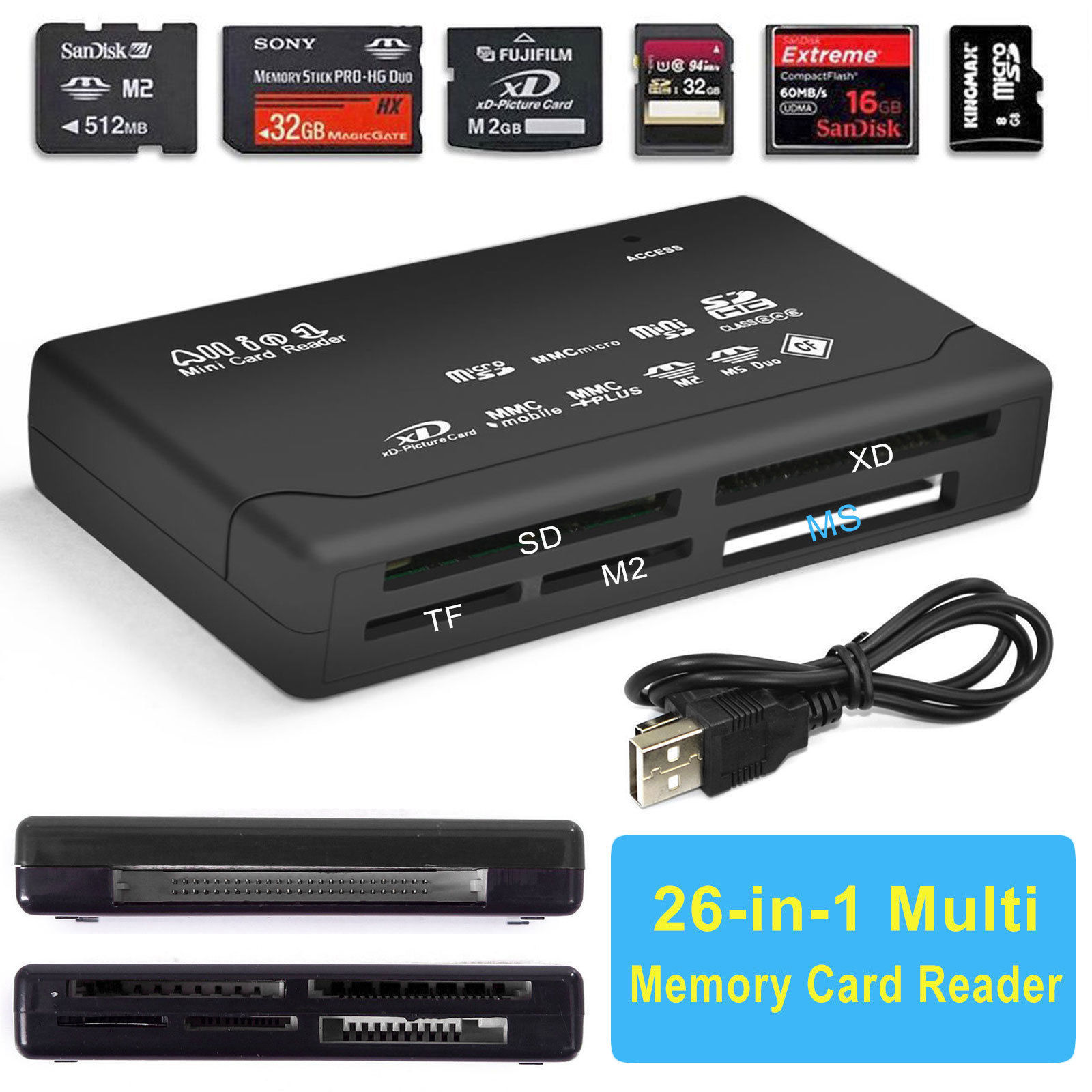 TSV Black Mini 26-in-1 USB 2.0 Universal High Speed Memory Card Reader SD MS XD SDHC