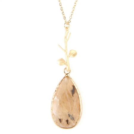 Riah Fashion Teardrop Pendant Long Chain Necklace (Teardrop Glass Flower Pendant)
