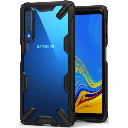 Ringke Fusion-X [Black] Designed for Galaxy A7 2018 Case Cover Clear Dot PC Back with Rugged TPU Bumper Anti Rainbow Effect [Straps Access Design] for Galaxy A7