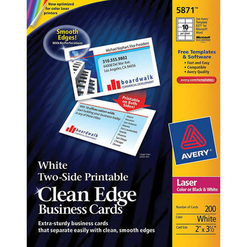 Avery Two-Side Printable Clean Edge Business Cards for Laser Printers, White, Pack of 200