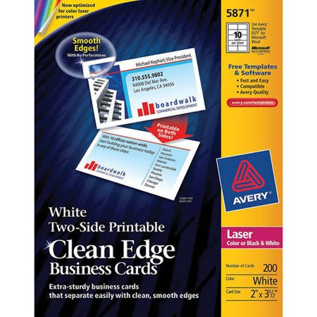 Avery two side printable clean edge business cards for for Does walmart print business cards