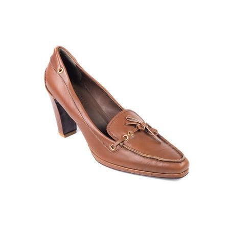 Car Shoe By Prada Women's Cognac Brown Leather Bow Tie Pumps