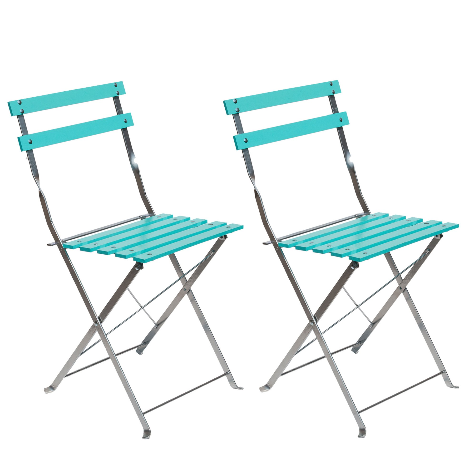 iCorer Patio Bistro Folding Side Chair, Outdoor Patio Furniture Set for Indoor Outdoor Use, Light Blue (Pack of 2)