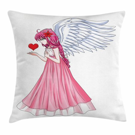 Anime Throw Pillow Cushion Cover, Fairytale Character Angel in a Pink Dress Holding a Heart Romantic Valentines Day, Decorative Square Accent Pillow Case, 18 X 18 Inches, Pink Red White, -