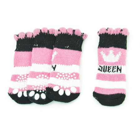 Ribbed Stretch Knit (2 Pairs Dog Pet Stretch Acrylic Ribbed Knitted Pink Black Nonslip Socks)