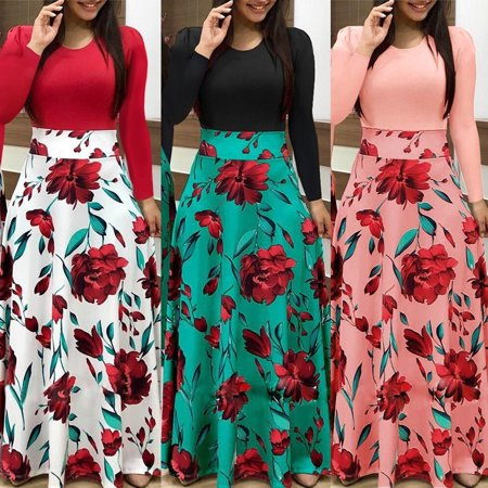 Plus Size Ladies Long Sleeve Floral Boho Women Party Bodycon Maxi Dress Long Skirts