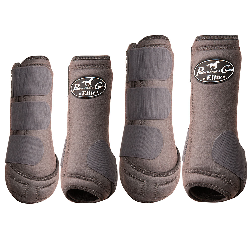 SML PROFESSIONAL CHOICE ELITE SPORTS HORSE MEDICINE BOOTS 4 PACK PURPLE CHARCOAL by