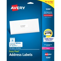 "Avery Easy Peel Address Labels, 1"" x 2-5/8"", 750 Labels (5260)"