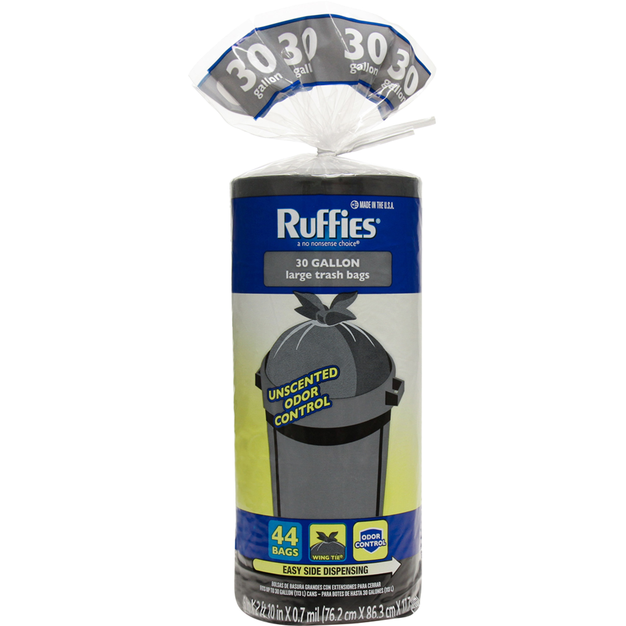 Ruffies Large Trash Bags, 30 gal, 44 count