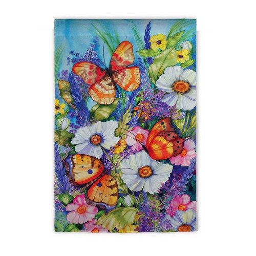 "Bright Butterfly Garden Flag Butterflies Floral Mini Decorative Banner 12.5""x18"""