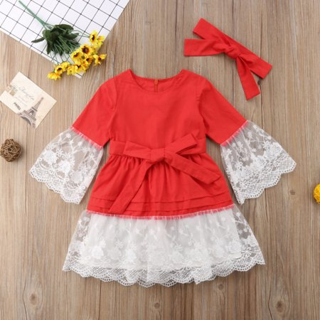 2Pcs Newborn Kids Baby Girl Princess Party Lace Dress Headbnad Outfit Clothes US - image 1 of 1